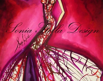 Original Fashion illustration watercolor art only one!