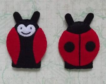 Ladybug Finger Puppet - Bug Puppet - Garden Finger Puppet - Insect Puppet - Lady Bug Ladybird Puppet - Felt Finger Puppet
