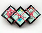 Board Game Coaster Set - Monopoly Coasters - Recycled Coasters - Game Night