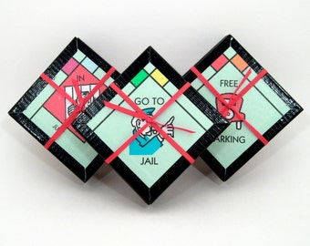 Board Game Coaster Set - Monopoly board Coasters - Recycled Coasters - Game Night