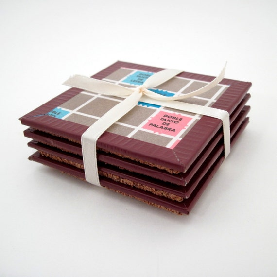 Board Game Coasters - SPANISH Scrabble - Scrabble Lover - Game Night