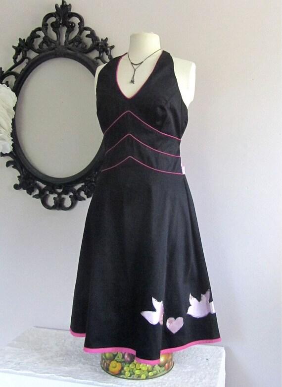 Pinup Girl Halter Dress with Lovebirds