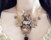 RESERVED Snow White Necklace Vintage Brass and Glass Limited Edition