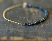Black Onyx Beaded Bracelet, Sparkly Gemstone Bracelet, Black Gemstone Beads, 14k Gold Filled, Black and Gold, Delicate Bracelet