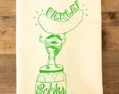 Pickle Strong Man Tea Towel pickle green retro dish towel pickling dill pickle canning theme