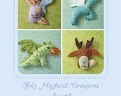 Mini Felt Mythical Creatures Set 2 plush PDF sewing pattern felt animal patterns ornaments
