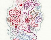 Down the Rabbit Hole Embroidery Pattern/ Coloring page PDF download hand embroidery patterns designs