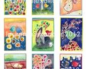 Love Birds ACEO Digital Collage Lauren Alexander Art PDF