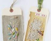 Tag art, set of 2, Embroidery and Old Lace
