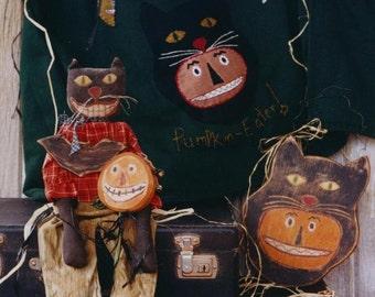Primitive Halloween Pattern EPattern PDF  Black Cat Doll JOL Pumpkin Rattle  Sweatshirt Folk Art Hickety Pickety 068