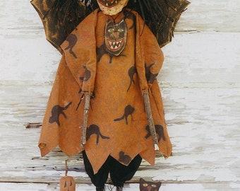 Primitive Halloween Pattern EPattern PDF Witch Doll Bat Black Cat  JOL Pumpkin Doll Paper Mache Clay Folkart Folk Art Hickety Pickety 056
