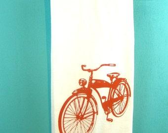 Bicycle Tea Towel - Red Kitchen Towels - Bike - CUTE Screen Print Red Black Purple Vintage Kitchen Wholesale