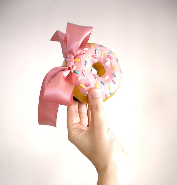 Donut Fascinator Headband // pink bow, pink frosting with sprinkles