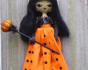 Halloween Queen Art Doll Primitive Folk Art Miss Hallow's Eve