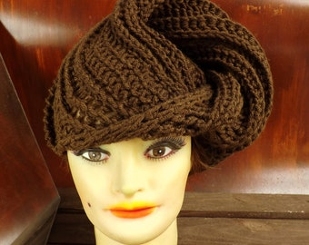 Brown Crochet Hat Womens Hat, Womens Crochet Hat, Womens Turban Hat, Brown Hat, Deitra Turban Hat, Crochet Head Scarf Wrap Crochet Hat