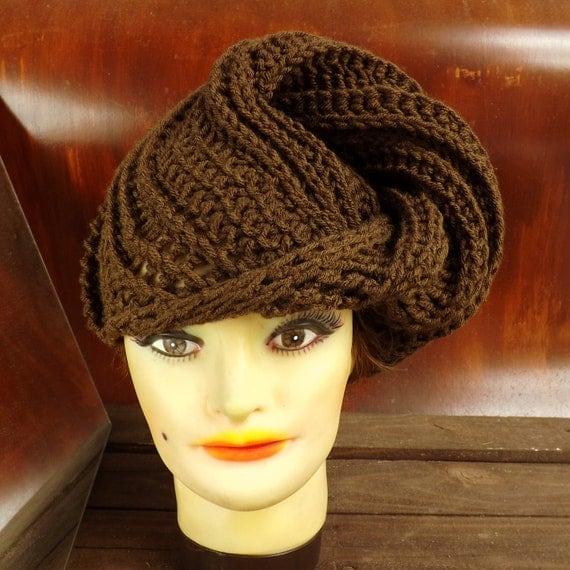 Brown Crochet Hat Womens Hat, Womens Crochet Hat, Womens Turban Hat, Brown Hat, DEITRA Turban Hat, Crochet Head Scarf Wrap Crochet Hat