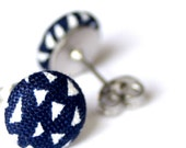 FREE SHIPPING!!! White Triangles on Navy - Super Mini Button Stud Earrings