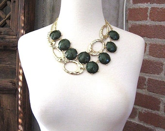 Sale Forest Green Statement Necklace - Green Bubble Necklace - Deep Green Statement Necklace - Green Choker -  Under 50 for Her