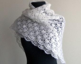 Custom Crocheted Lace Shawl, Bridal Wedding Prom Wrap, Scarf, White, Mohair Silk, FREE SHIPPING