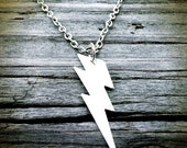 Lightning Thunder Bolt Necklace, silver plated, electrical storm, stormy weather, thunderstorm, thunderbolt