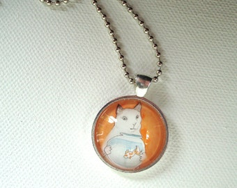 Cat with a Fishbowl - Unique Pendant, Cat Jewelry
