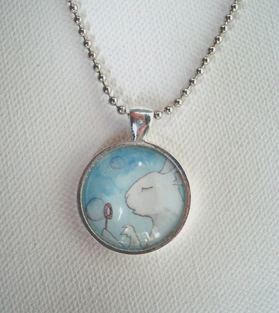Bunny Blowing Bubbles - Round Animal Pendant