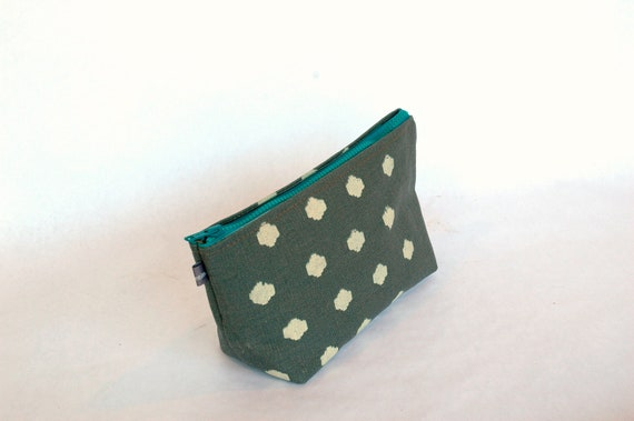 Grey cosmetic bag with creme and teal Polka print-lined with vinyl
