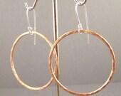 Copper and Sterling Silver Hoop Earrings