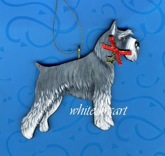 Hand Painted Gray Schnauzer Christmas Ornament