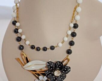 Vintage Enamel Statement Necklace. OOAK Necklace. Black and White