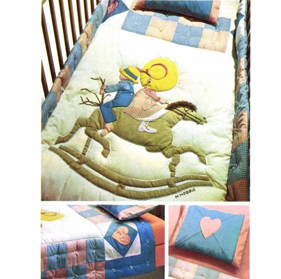 Holly Hobbie Crib Youth Bed Quilt Pillowcase 1970s Simplicity 6702 Vintage Sewing Pattern UNCUT