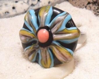 Lampwork Flower Ring Topper,  Interchangeable Artisan Handmade Jewelry, SRA  Glassymom