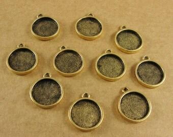 Mini Circle Single Loop Bezel Frame Trays - Set of Ten -  Antique Gold Finish