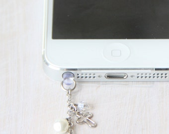 FREE Shipping-Silver Cross and Heart Locket iPhone Earplug Charm. iPhone Accessories. Baptism Gift. iPhone Earphone Plug.  Free Shipping.