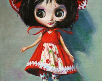 "Blythe Doll Toy Portrait Print of Original Painting 8""x10"""