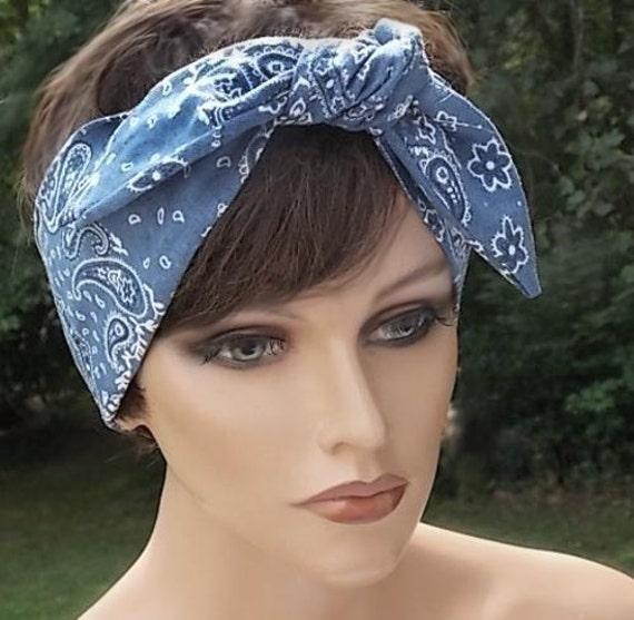 Retro Tie on Blue Denim Look  Country Western Kerchief Bandana Headband and Neck Scarf