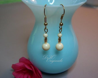 SALE Originally 8.00 - Ivory & Gold Beaded Dangle Earrings
