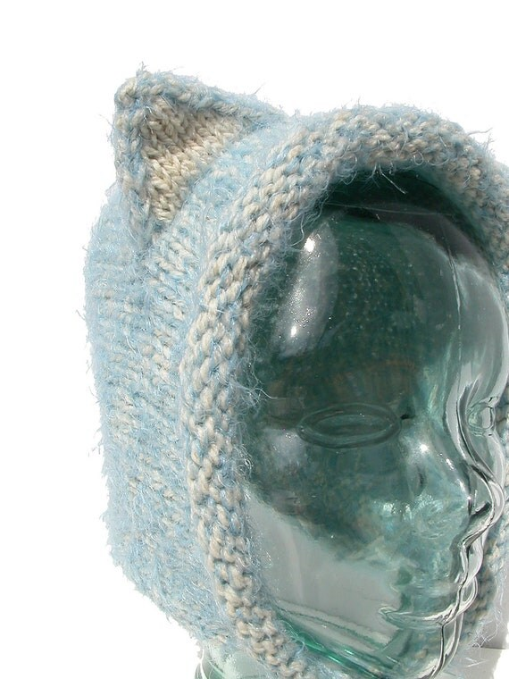 White and Blue Wool and Acrylic - Fuzzy Bonnet Style - Kitty Cat Ear Hat