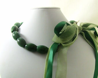 Deep Forest Green African Jade Stone Statement Necklace, Ribbon Bow, Christian Jewelry - HOSANNA Collection