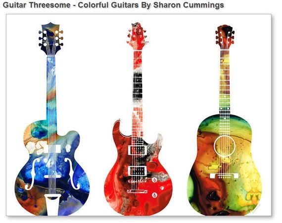 guitar art print painting bass electric vintage acoustic rock. Black Bedroom Furniture Sets. Home Design Ideas