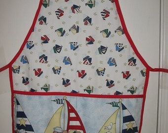 Child's Apron Boats & Bears Size Medium #1039