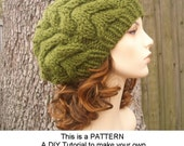Instant Download Knitting Pattern - Knit Hat Knitting Pattern - Knit Hat Pattern for Horseshoe Cable Beret Pattern - Womens Accessories