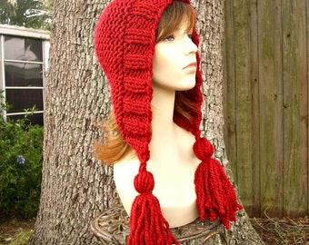 Knit Hat Womens Hat Knit Hood Red Ear Flap Hat - Red Tassel Hat in Poinsettia Metallic Red Knit Hat - Red Hat Womens Accessories Winter Hat