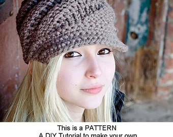 Instant Download Knitting Pattern - Knit Hat Pattern for Swirl Beanie Hat With and Without Visor - Womens Accessories