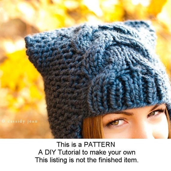Instant Download Knitting Pattern - Knit Hat Pattern for Dragon Slayer Earflap Helmet Hat - Ear Flap Hat Pattern Womens Accessories
