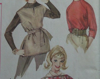 Simplicity 3600, early 1960s blouse and ponchos