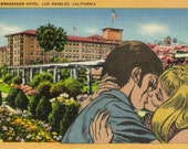 Retro Romance, Comic Collage Art, Romantic Artwork, Original Pop Art, Los Angeles California Postcard, Old Hotel Art, LA Postcard