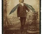 Photo Collage Victorian Gothic Bat Boy Weird Goth Halloween Art