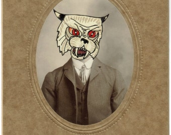 OOAK Original Mixed Media Collage Art, Surreal Portrait, Victorian Oddity, Cat Man, Weird Photograph, Odd Photo Collage, Strange Decor
