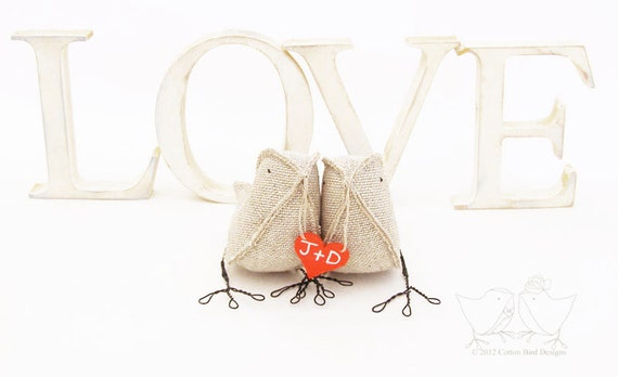 Valentine Burlap Birds with Personalized Heart Wedding Gift to Newly Weds Anniversary Gift